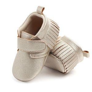 Other - Baby Infant Gold Fringe Velcro Moccasins - NWT